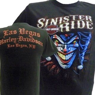 HARLEY DAVIDSON Las Vegas SINISTER RIDE w/ EvIL JESTER T Shirt 2XL XXL