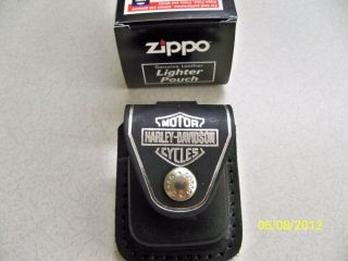 Harley Davidson silver bar & shield black leather lighter zippo case