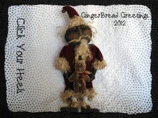 GINGERBREAD GREETINGS PRIMITIVE BLACK SANTA DOLL PATTERN CLICK YOUR