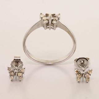 10K White Gold Diamond Butterfly Ring Earrings Jewelry Set