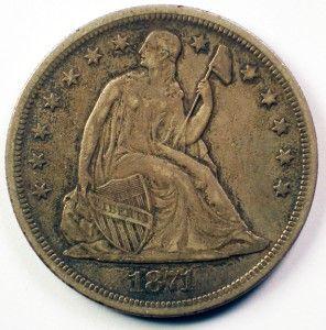 1871 Seated Liberty Silver Dollar Coin High Grade