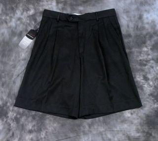 New Greg Norman Shark Logo Mens Golf Shorts Black Sz 32