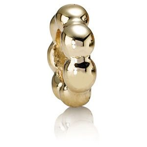Gold Bubble Charm Spacer Bead fits Charm Bracelet 14K Gold over Silver