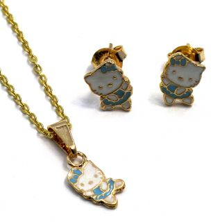 Set Gold 18K GF Earrings Blue Hello Kitty Ballerina Girl Baby Pendant