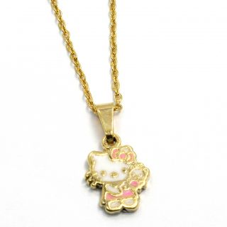 Enamel Hello Kitty Gold 18K GF Pendant Girl Kids Charm Chain