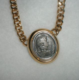 NECKLACE ROMAN COIN MOTIF GOLD PLATED SIGNED CINER HEFTY NECKLACE