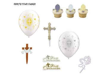 Cross Cupcake Rings Pics Cross Balloons in Silver Gold Cake Cross or