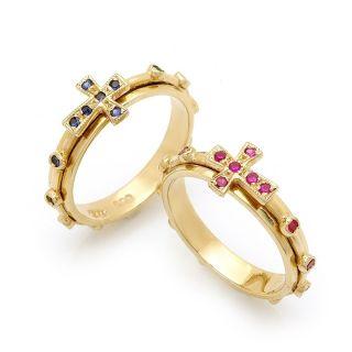 14k Gold Rosary Ring Cross Girdle Spinning 3 7gram