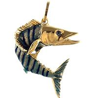 14k yellow gold made to order wahoo with enamel fish charm pendant