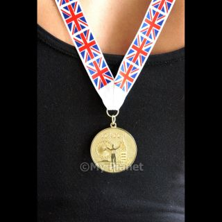 GOLD MEDAL LONDON 2012 OLYMPICS WITH UNION JACK FLAG LANYARD SOUVENIR