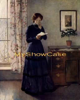 RARE Old Harold Knight Print Victorian Woman Reading Love Letter c19th