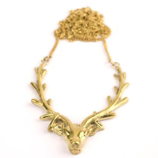 Deer Antlers Pendant Gold Plated Necklace by 81stgeneration