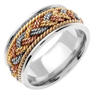 14k Tri Color Gold Rope Braided Wedding Band Ring 9 Mm