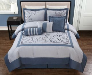 7pcs Queen Nahla Blue and Gray Embroidered Comforter Set
