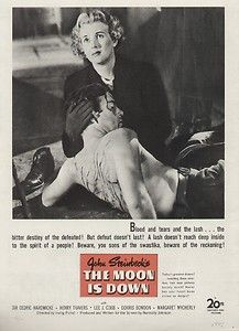 Steinbecks The Moon is Down 1943 Movie Ad/Poster Sir Cedric Hardwicke