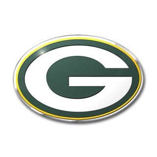 Green Bay Packers 3D Color Chrome Auto Emblem Home Decal NFL Football