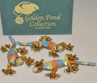 Golden Pond Collection Gecko Ceramic Multi Colored Wall Hanging Set 3