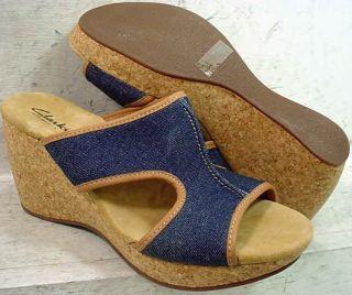 NEW Clarks Womens Harwich Ferry Denim Wedge Platform Sandals 31733