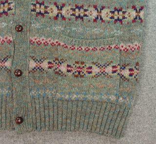 Vtg Polo Ralph Lauren Fair Isle Wool Knit Button Front Cardigan
