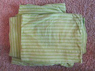 Pottery Barn Ticking Stripe Queen Sheet Set Bedding Green White