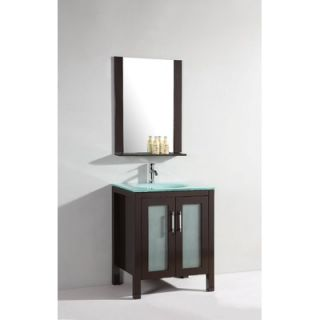 Legion Furniture 27.5 Single Bathroom Vanity Set with Mirror in Dark