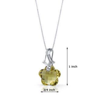Oravo Blooming Flower Cut 11.00 Carat Lemon Quartz Pendant Necklace in