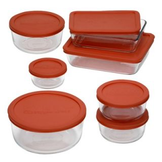 Pyrex 14 Piece Bakeware/Cookware Set with Red Plastic Covers