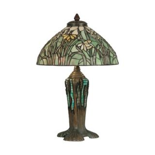 Dale Tiffany 18 Two Light Table Lamp with Art Glass Shade in Dark