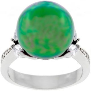 Goodin Silver Tone Tahitian Color Faux Pearl Cubic Zirconia Ring