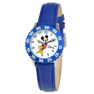 Disney Kids Mickey Stainless Steel Time Teacher Watch in Blue