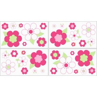 Sweet Jojo Designs Flower Pink and Green Wall Decals Sheets (Set of 4
