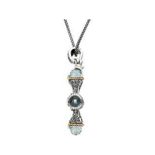 Jewelryweb Sterling Silver Gnuine Sky Blue Topaz Cross Necklace 46