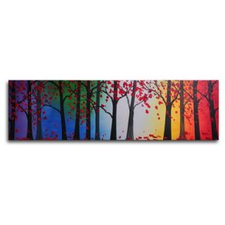Hand Painted Trees Hold Hands Canvas Wall Art   12 x 40