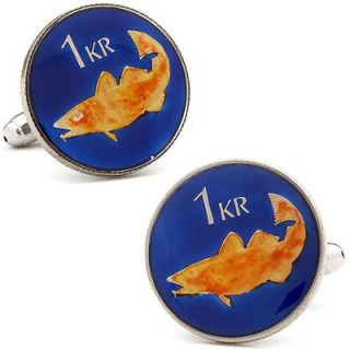 Penny Black 40 Hand Painted Iceland Coin Cufflinks   PB 444 SL