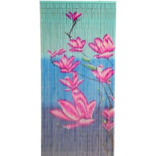 Bamboo54 Pink Flower on Blue Background Curtain