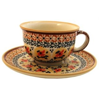 Polish Pottery 8 oz Coffee Cup & Saucer   Pattern DU70   775 DU70