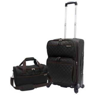 Traveler 2 Piece Quilted Carry On Expandable Spinner Upright and