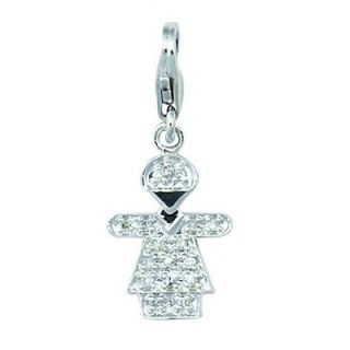 EZ Charms 14K 0.92 Grams White Gold Diamond 0.08Ct Girl Hugs Charm