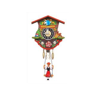 Black Forest Battery Operated Clock with Swinging Girl