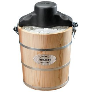 Aroma 6 Quart Wood Barrel Ice Cream Maker   AIC 206EM