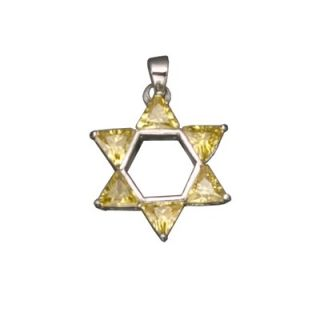 CZ Collections Citrine Jewish Star David Rhodium Plated Pendant