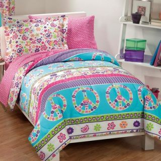 Comfort and More Peace Signs Multicolor Girls 7 Piece Full Comforter