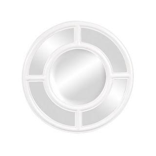 Howard Elliott Grisham Round Framed Mirror in Glossy White