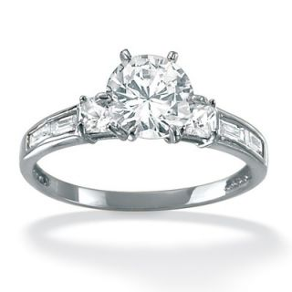 Palm Beach Jewelry Platinum/Silver Multi Shaped Cubic Zirconia Ring