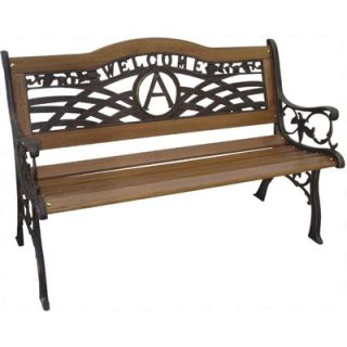 DC America Monogram Wood and Cast Iron Park Bench   SL5450CO BR