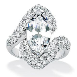 Palm Beach Jewelry Platinum/Silver Diamond Ultra Cubic Zirconia Ring