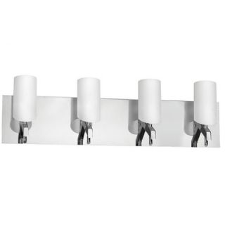 Dainolite White Frosted Glass Four Light Bath Vanity in Polished