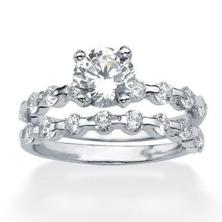 Palm Beach Jewelry Platinum/Silver Round Cubic Zirconia Wedding Ring