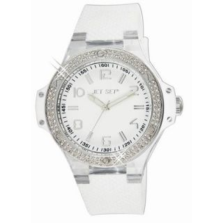 Cannes Ladies Watch with White Band with Crystal Bezel   J6694S 161