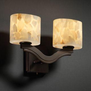 Justice Design Group Alabaster Rocks Bend Two Light Wall Sconce